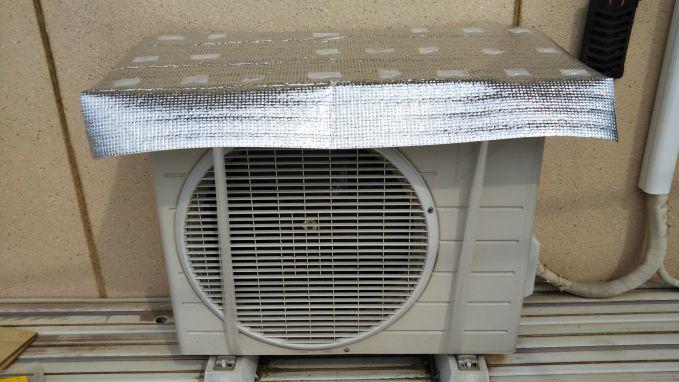 エアコン室外機アルミシート日除けカバー完成